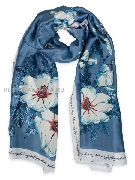 Палантин Gucci шелковый синий 3618