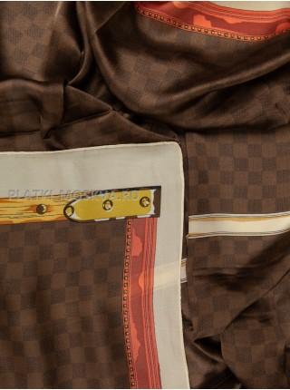 Палантин брендовый шелковый коричневый 3638