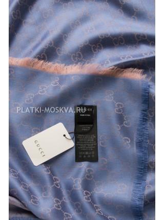 Платок Gucci кашемировый синий с бежевым 275