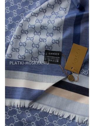Платок Gucci светло-синий джинсовый с полоской 260
