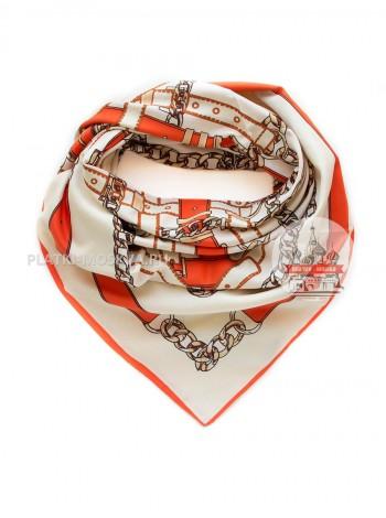 """Платок Burberry шелковый белый с оранжевым """"Цепи"""" 640"""