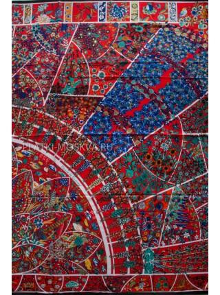 "Платок Hermes шелковый красный ""Цветы"" 813-120"