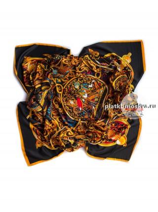 Платок Hermes шелковый черно-золотой с узорами 332