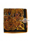 Платок Hermes шелковый черно-золотой с узорами 332-140