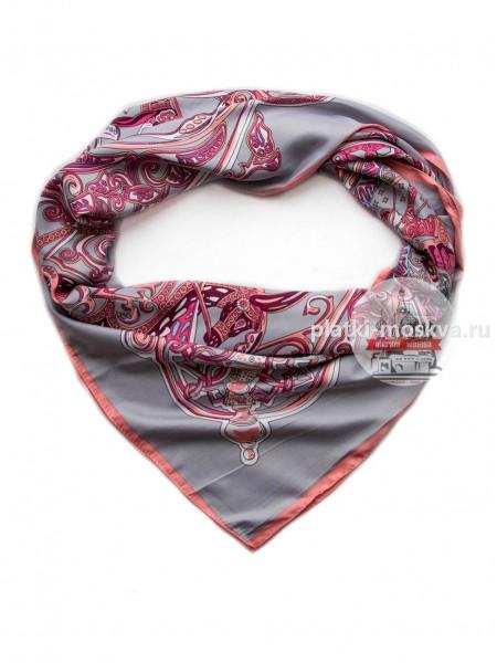 Платок Hermes шелковый серый с розовым узор 343-120