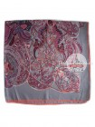 Платок Hermes шелковый серый с розовым узор 343