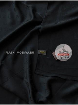 Платок брендовый шелковый черный однотонный 199-2