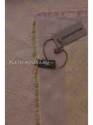 Платок брендовый коричневый с золотом 121-100