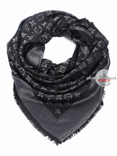 Платок брендовый черный с серебром 159
