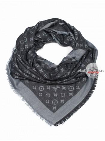 Платок Louis Vuitton черный с серым 160