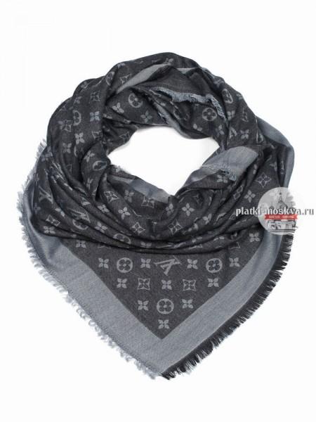Платок брендовый черный с серым 160