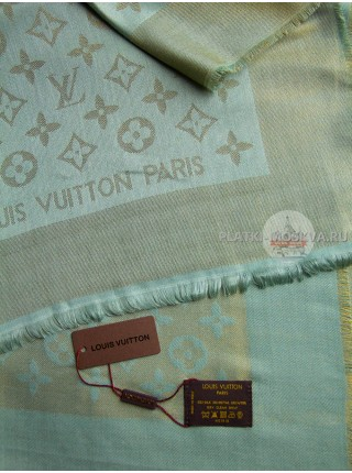 Платок Louis Vuitton бледно-зеленый с золотом 173