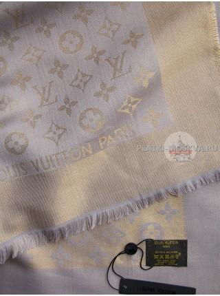 Платок брендовый темно-серый с золотом 171-100