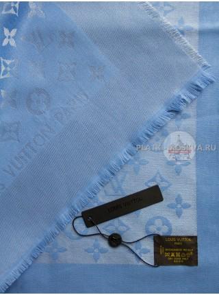 Платок брендовый голубой с серебром 170
