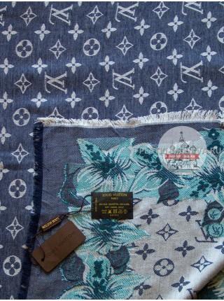 Платок брендовый синий с белым джинсовый 186