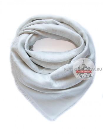 Платок брендовый белый с серебром 192