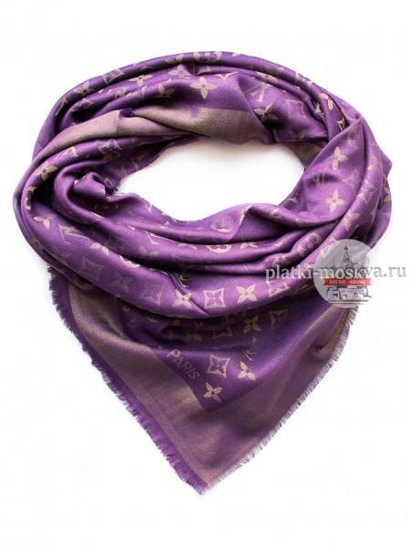 Платок брендовый фиолетовый с золотом 154