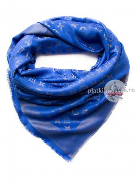 Платок Louis Vuitton синий с золотом 143