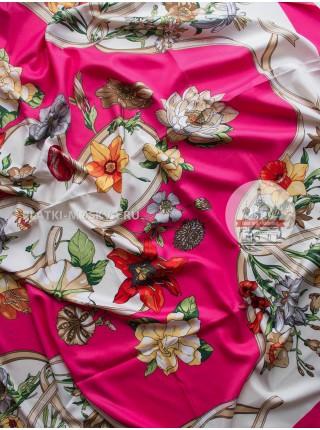 """Платок брендовый шелковый фуксия """"Bouquet"""" 389"""
