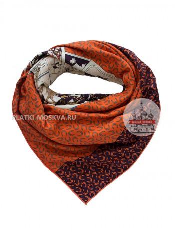 Платок Hermes шелковый оранжевый «Троя» 1366-140