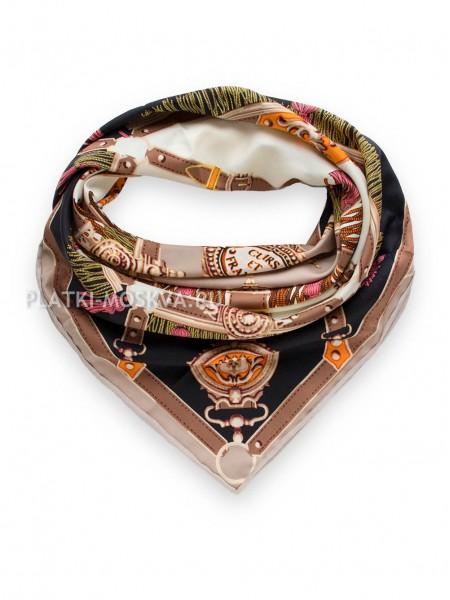 """Платок Hermes шелковый черный с коричневым """"Кирасы Франции"""" 1900-90"""