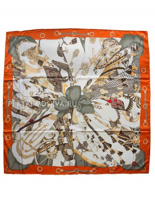"Платок Hermes шелковый оранжевый ""Шелковое солнце"" 1285-140"