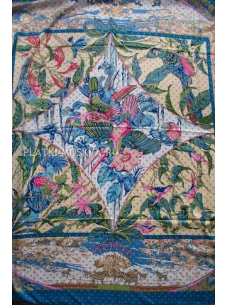Платок Hermes шелковый синий с белым «Тропики» 1379-140