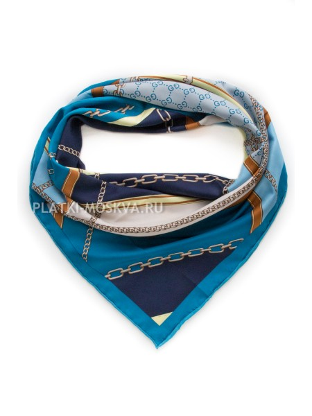 """Платок Gucci шелковый синий с голубым """"Ремни и цепи"""" 1939-90"""