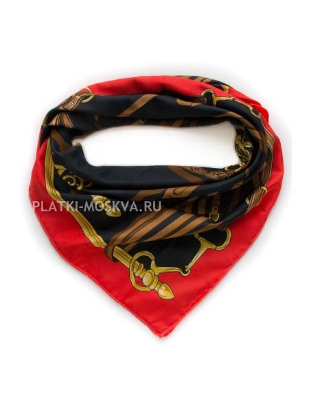 """Платок Gucci шелковый черный с красным """"Ремни"""" 1952-90"""