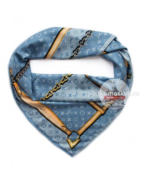Платок Louis Vuitton шелковый голубой с ремнями 048