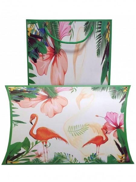 """Подарочный конверт с пакетом белый """"Фламинго"""""""