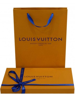 Платок брендовый голубой с золотом 113