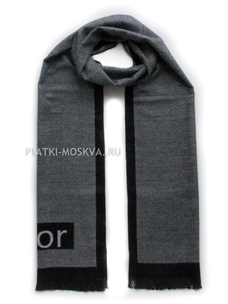 Шарф мужской Dior кашемировый черный с белым 3447