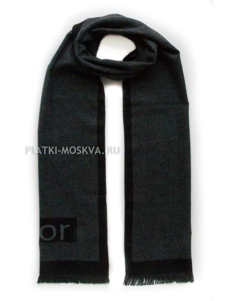 Шарф мужской Dior кашемировый черный с серым 3448