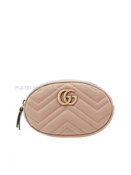 Поясная сумка GG Marmont бежевая
